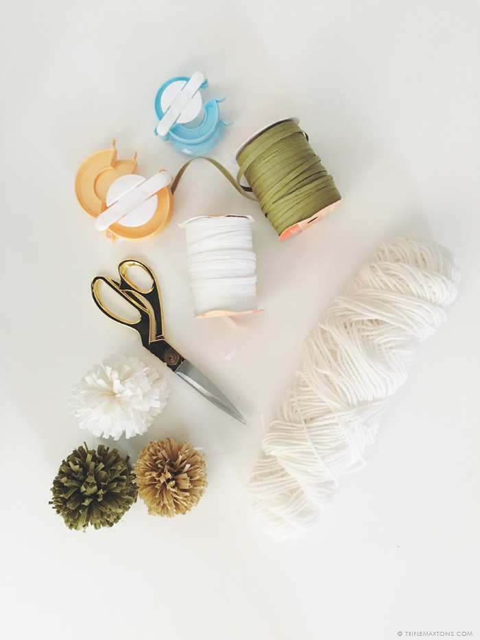 diy raffia pom pom tutorial via triple max tons
