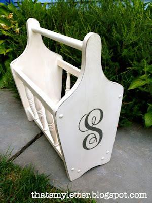magazine rack with monogram