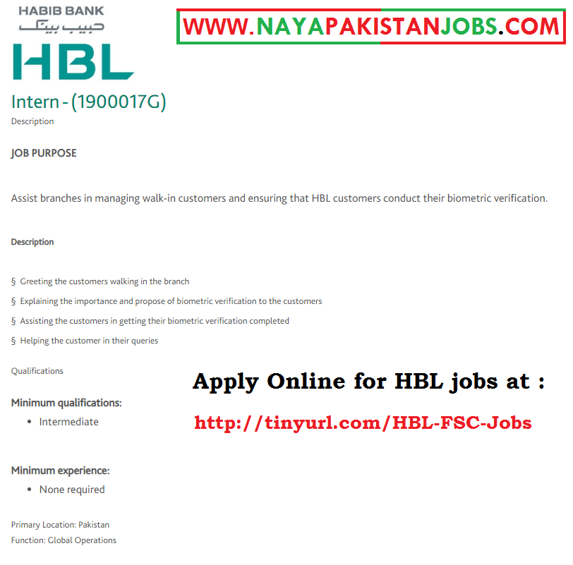 HBL Intern for Intermediate 2019 April, HBL Careers 2019