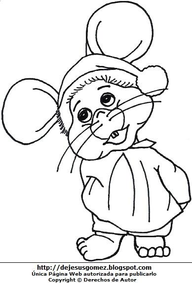 Dibujo de Topo Gigio con ropa de dormir para colorear, pintar. Topoyiyo hecho por Jesus Gómez