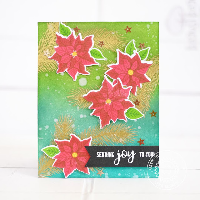 Sunny Studio Stamps: Petite Poinsettias Tree Branch Background Card by Lexa Levana