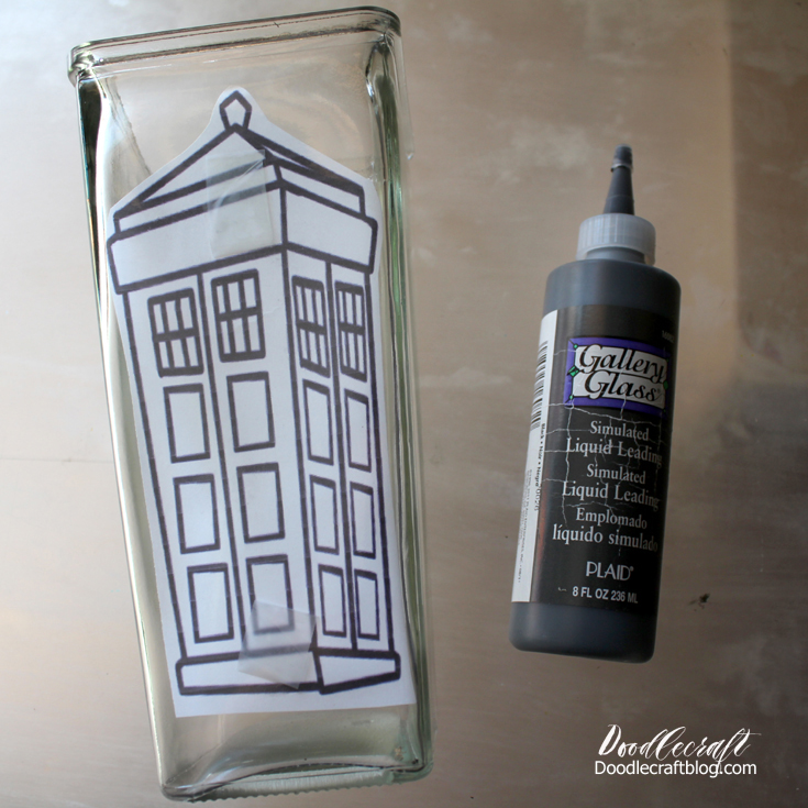 Doodlecraft Doctor Who Tardis Stained Glass Vase