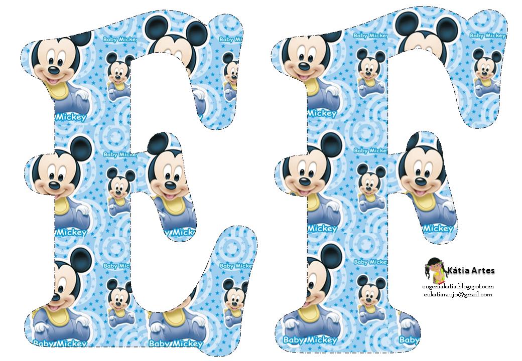 Alfabeto De Mickey Bebe En Fondo Celeste Oh My Alfabetos