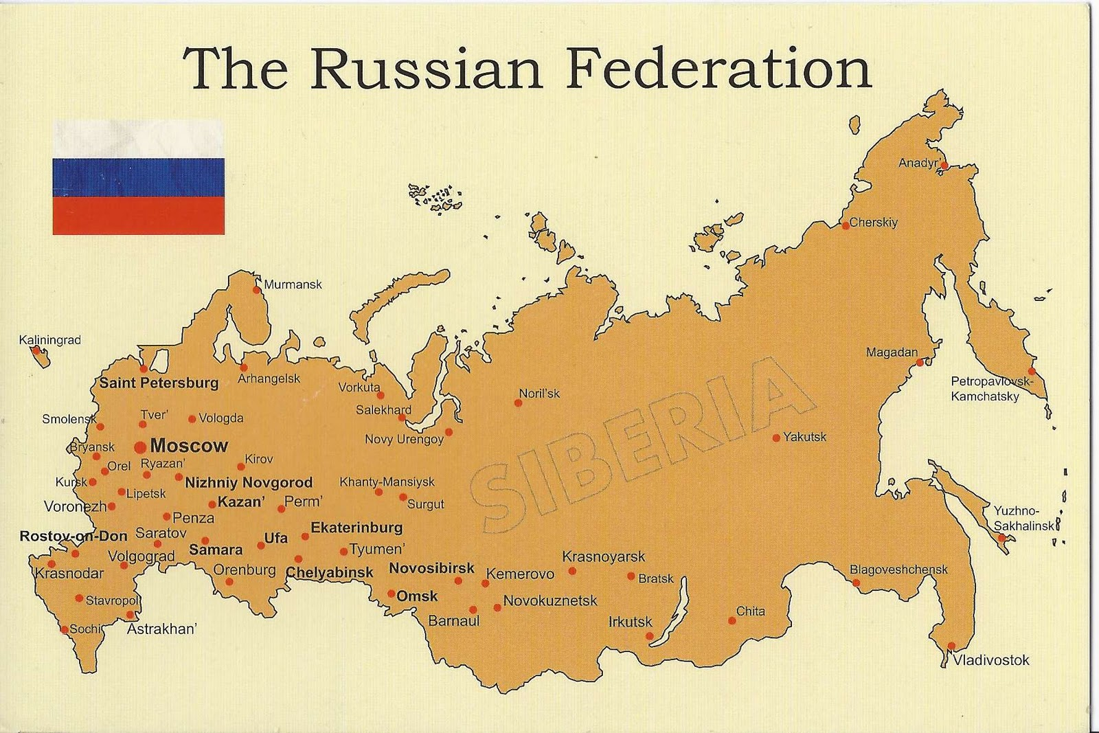 A Journey of Postcards: A map of the Russian Federation