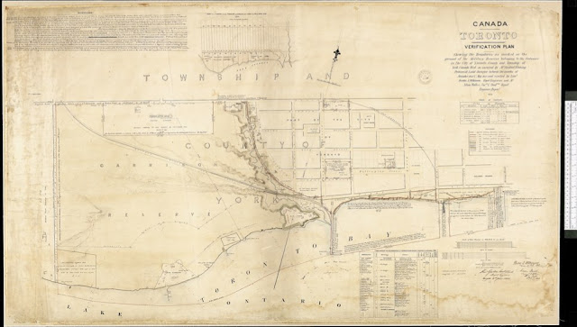 1852 Verification Plan of the Military Reserves in Toronto, as surveyed by Sandford Fleming