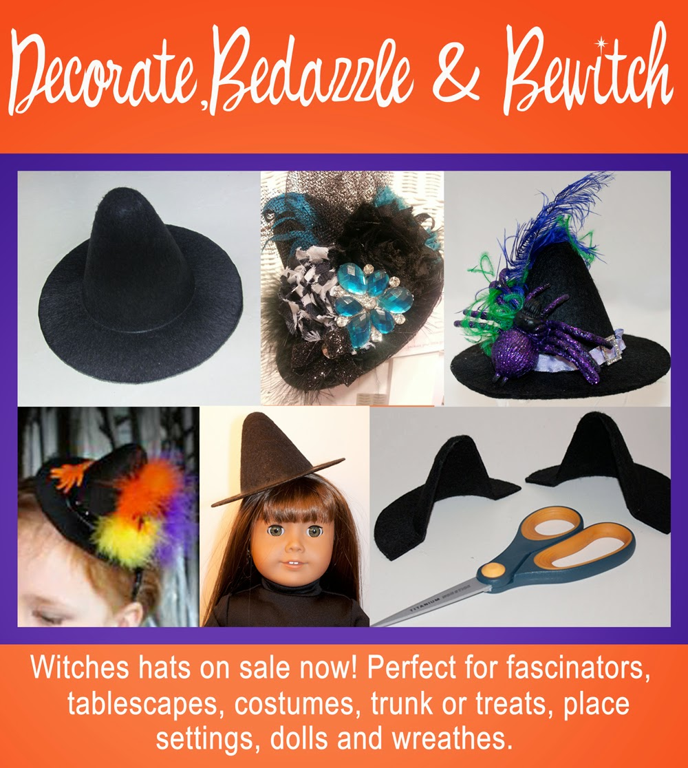 mini witches hats for fascinators, costumes, trunk or treats, dolls, wreathes