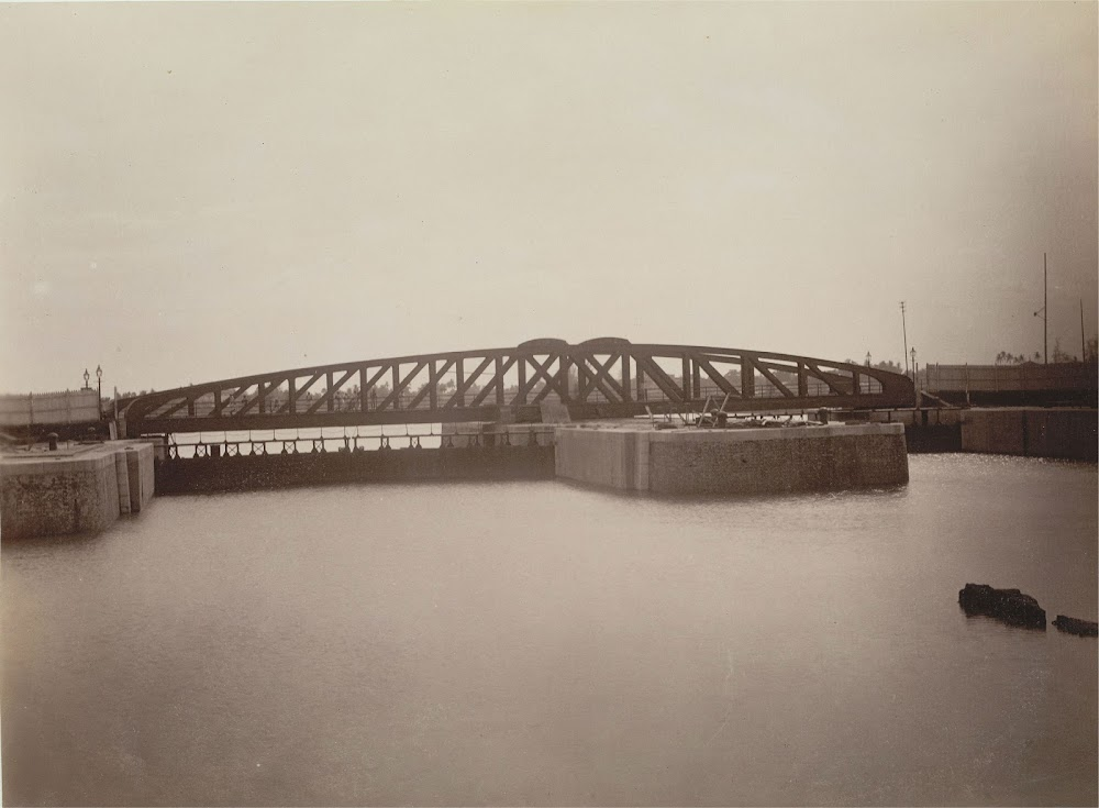 Calcutta (Kolkata) Docks with the Swing-Bridge Gates at the Entrance to the Half-Tide Basin as seen from the River - 1891