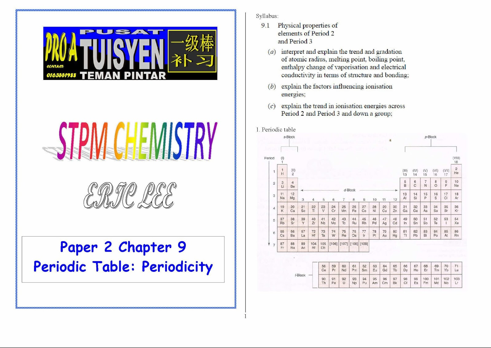 Stpm Chemistry Term 2 Chapter 9 Pro A Tuition Centre