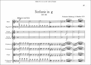 W. A. Mozart: Sinfonía en sol menor núm.25, Kv. 183 (173db), fechada en Salzburgo, el 5 de octubre de 1773.