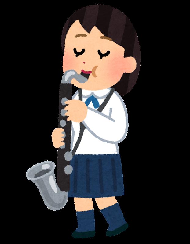 バスクラリネットを演奏する女子学生のイラスト吹奏楽 かわいい