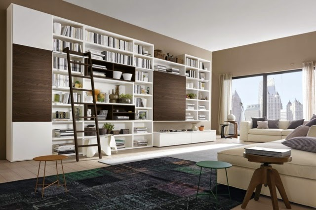 modern living room shelving ideas white bookshelves model by napol - Shelving Ideas For Living Room