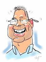 iPad karikatuur tekening van man live