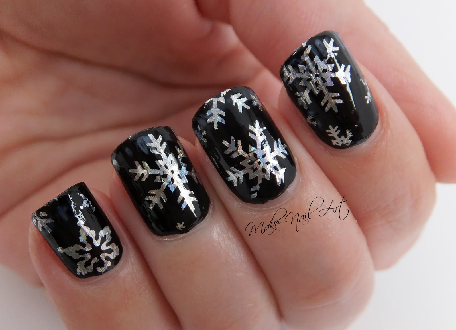 Make nail art holographic snowflakes foil nail art design when the glue dries apply the foil on the nail and press with your finger to transfer the snowflakes finish with a water based top coat prinsesfo Image collections
