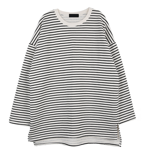 Striped High-Low Hem T-Shirt