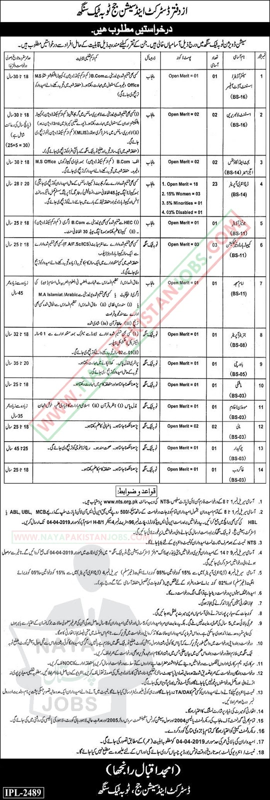 session judge jobs 2019,District And Session Judge Toba Tek Singh Jobs 2019 March