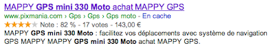 A product rich snippet from www.google.fr