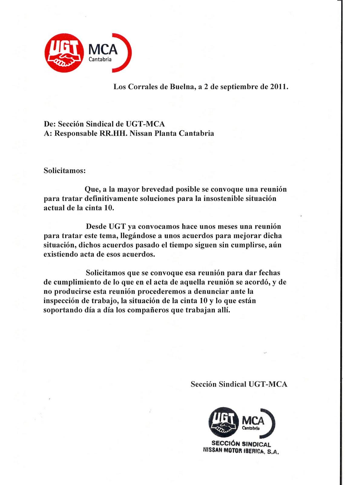 S. S. UGT NISSAN: SOLICITUD DE REUNION PARA TRATAR