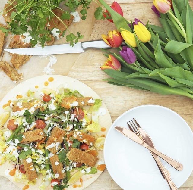 Falafel Ranch Salad with a Spicy Garlic & Herb Dressing Recipe