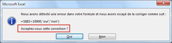 Message erreur de parenthèse fermante - Excel