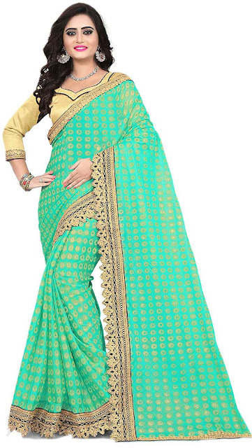 Siddeshwary Fab Women's Georgette Saree With Blouse Piece -Best selling georgette saree amazon below 1300