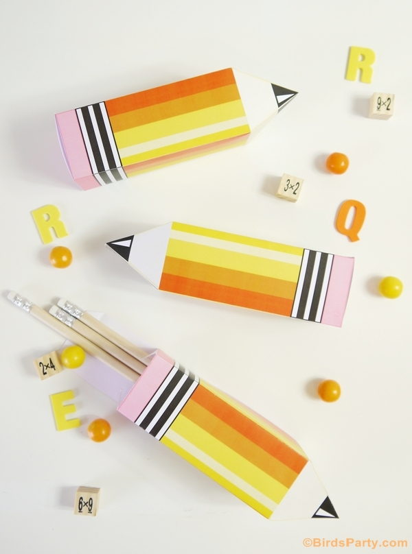Back to School Free Printable Pencil Box Template - BirdsParty.com