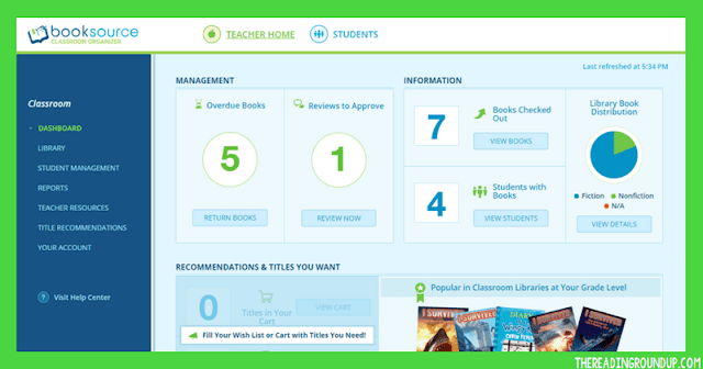 Classroom Booksource dashboard for classroom library organization by The Reading Roundup