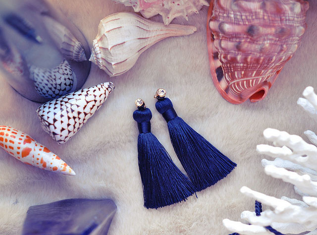 DIY blue tassel earrings