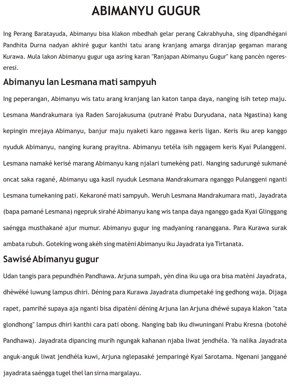 Cerita Wayang Bahasa Jawa Mahabarata