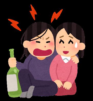 酒癖の悪い人のイラスト(女性)