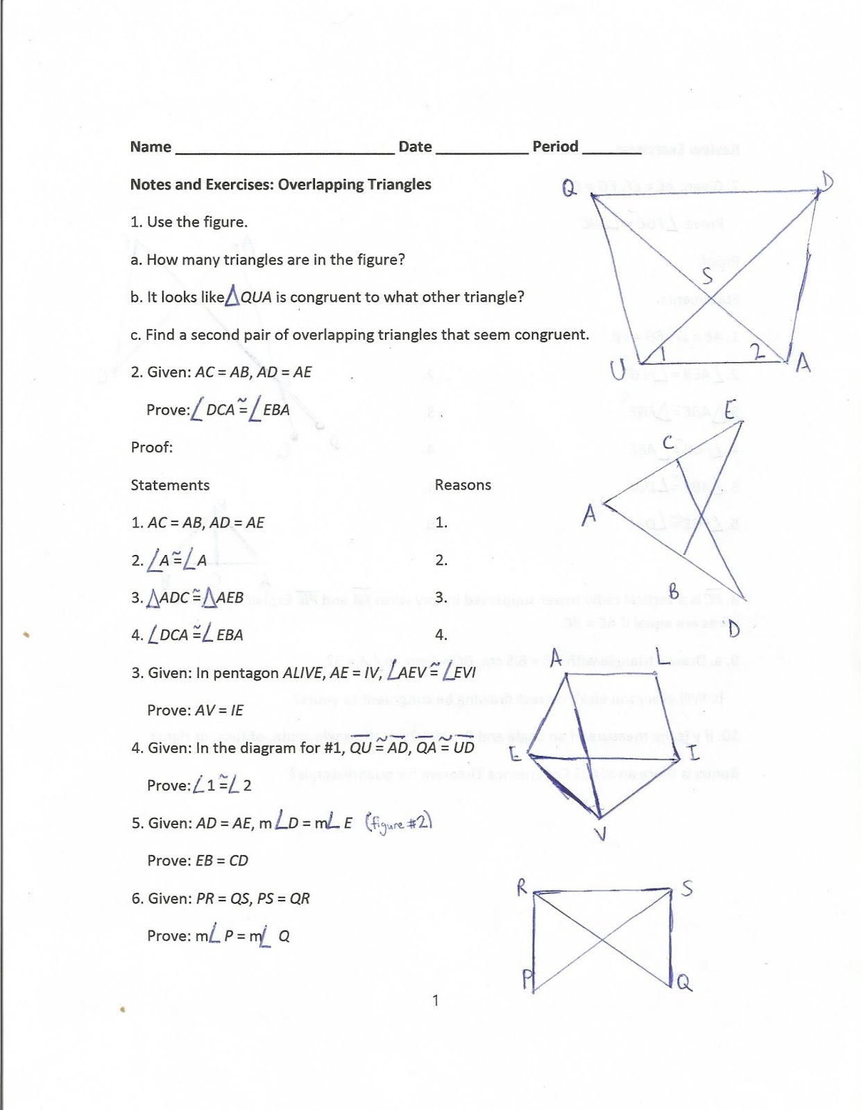 Geometry Common Core Style Lesson 7 4 Overlapping