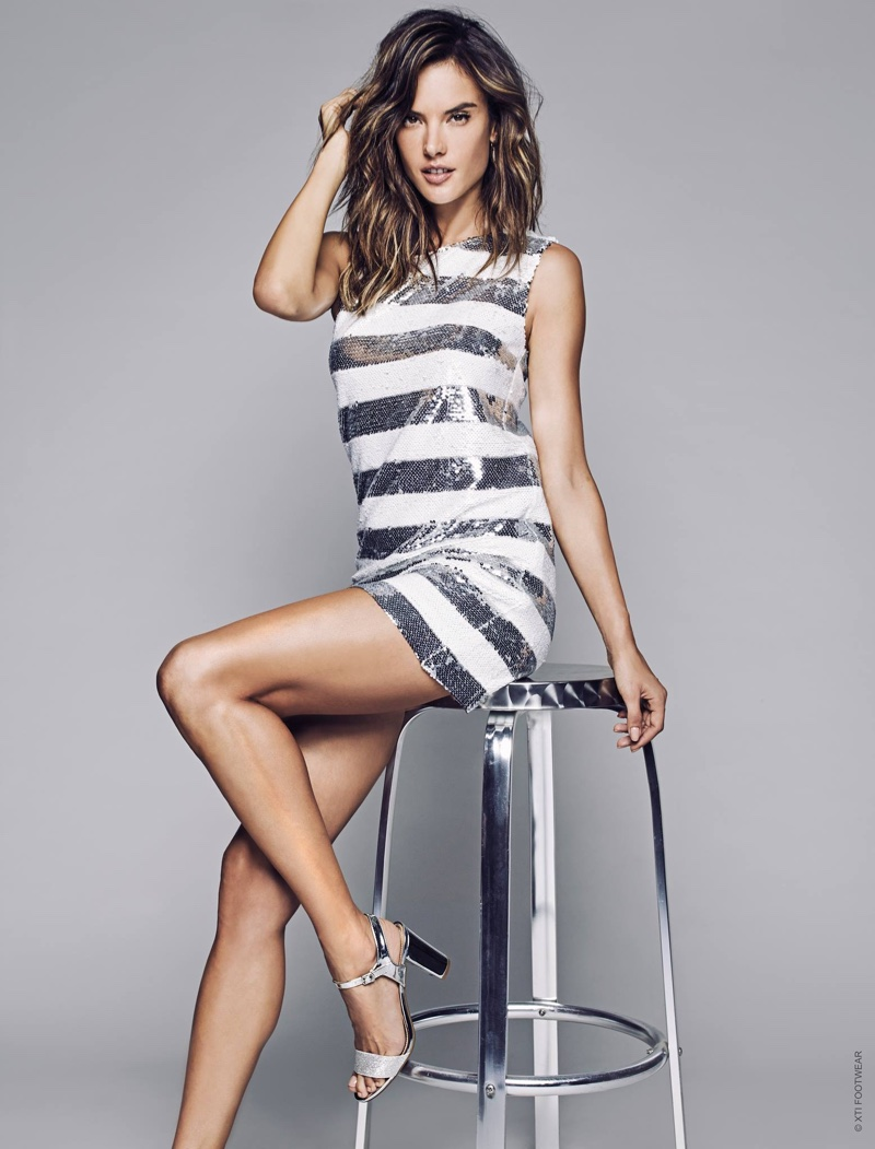 Alessandra Ambrosio wears silver heeled sandals in XTI Shoes' spring 2017 campaign