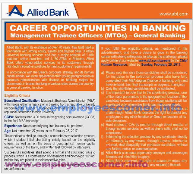 Management Trainees Jobs in ABL 2017