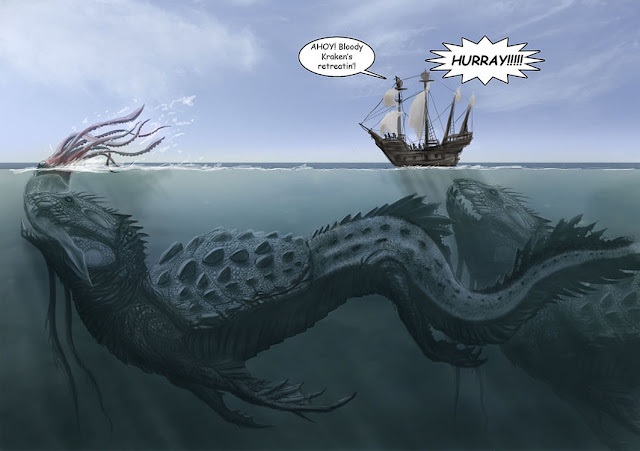 image the sea of monster sea serpent - monster in the sea - funny joke