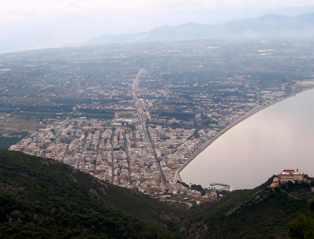 Looking down onto Loutraki from Osios Patapios, Loutraki, Greece. Photo by Greeker than the Greeks