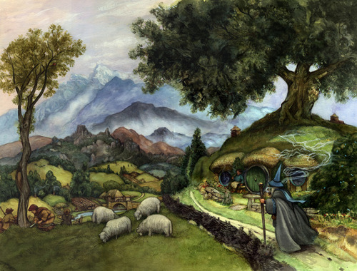 05-2nd edition Cover-Artist-David-Twenzel-Watercolour-The-Hobbit-Frodo-Baggins-Gandalf