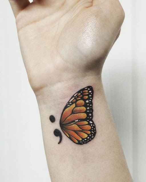 Awesome Butterfly Semicolon Tattoo Designs