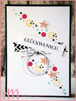 Stampin' Up! rosa Mädchen Kulmbach: Glückwunschkarte mit Washi Tape, Reason to smile, Jolly Friends, Pictogram Punches und In Partystimmung