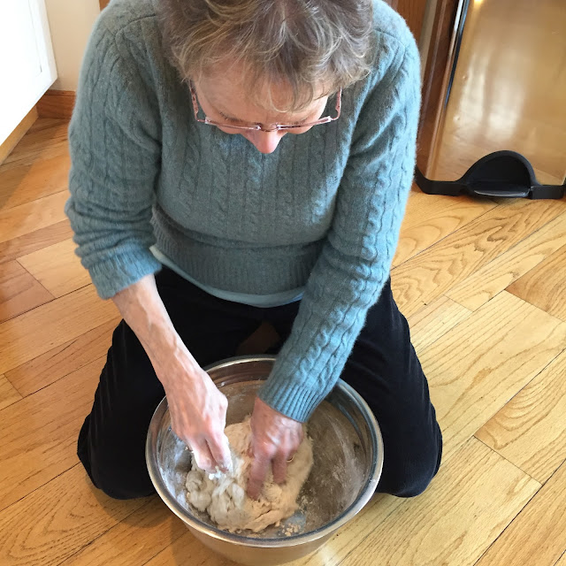 Learning to knead dough from my mom