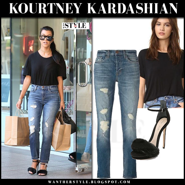 Kourtney Kardashian in black t-shirt and ripped jeans j brand maria what she wore streetstyle