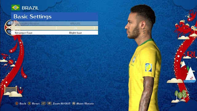 Neymar Jr Face with New Hairstyle PES 2017
