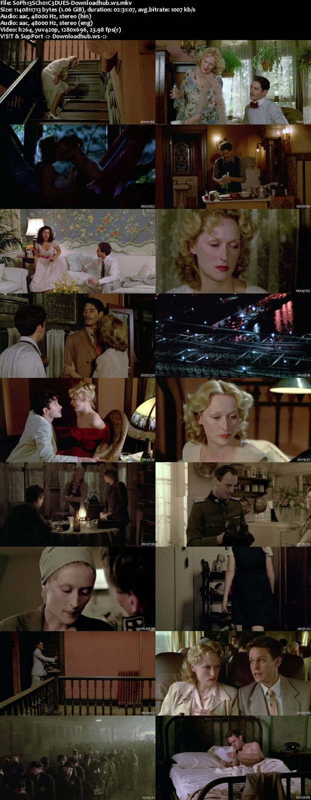 Sophie's Choice 1982 Hindi Dual Audio 720p BluRay Free Download