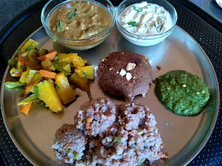 Beaten red rice rava veg kichadi, Beaten red rice sweet rava idli, Pumpkin Carrot masala, Tomato Chutney, Coconut Chutney, Cilantro Mint Chutney