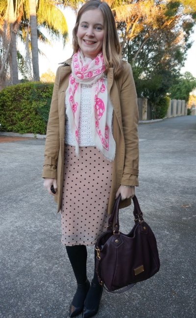 Away From Blue | Winter Office Wear pink polka dot skirt crochet jumper trench coat