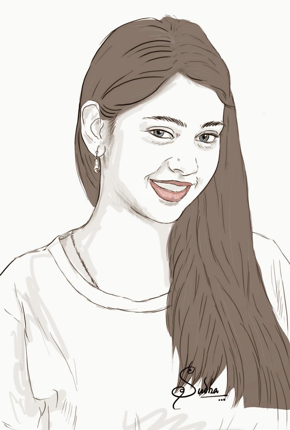 Drawing of neethi taylor portrait beautiful indian girl