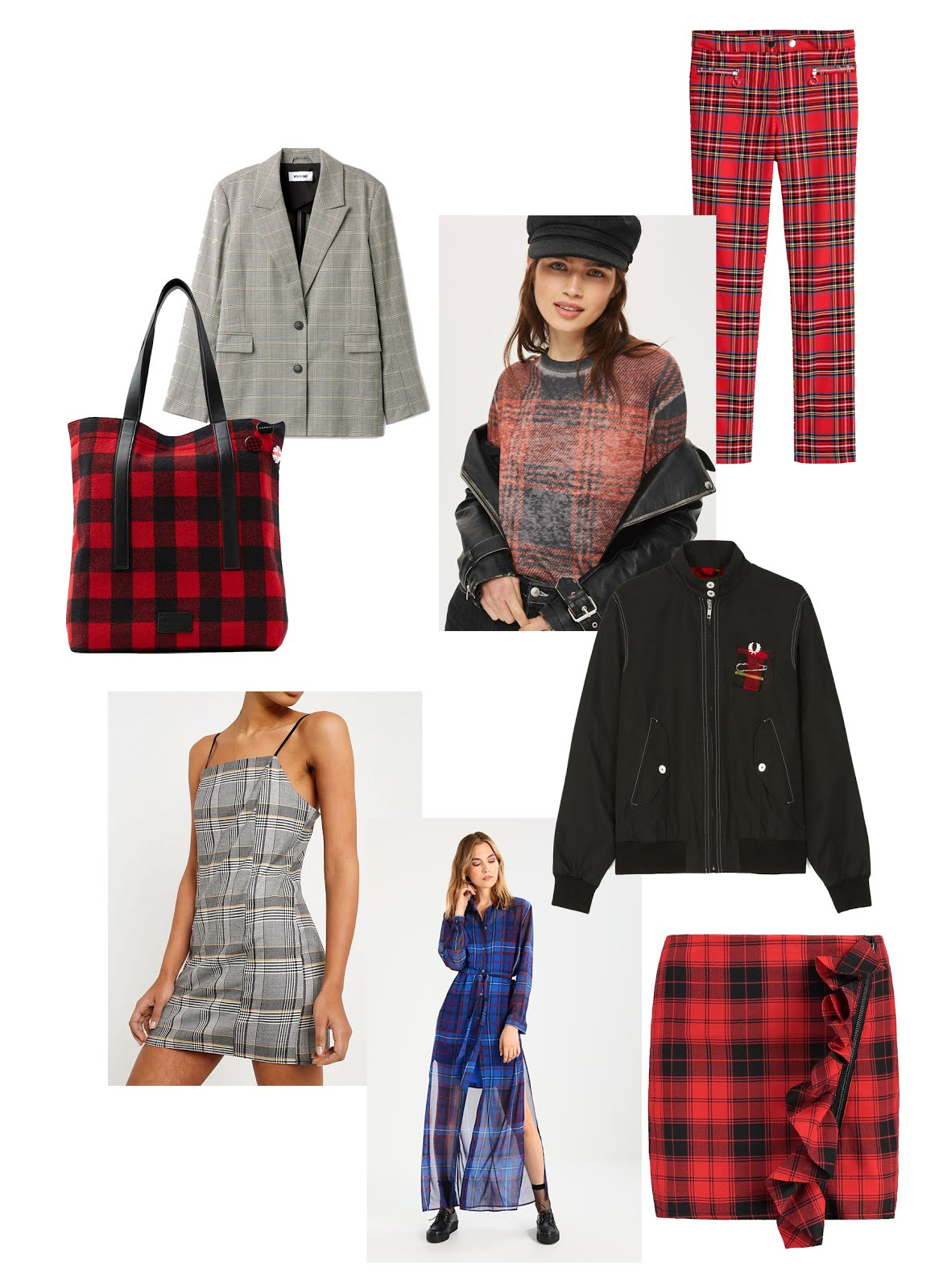 Tartan print, plaid, scottish, skirt, fred perry, harrington, le kilt, tommy hilifiger x gigi hadid, maxi dress, esprit, shopper