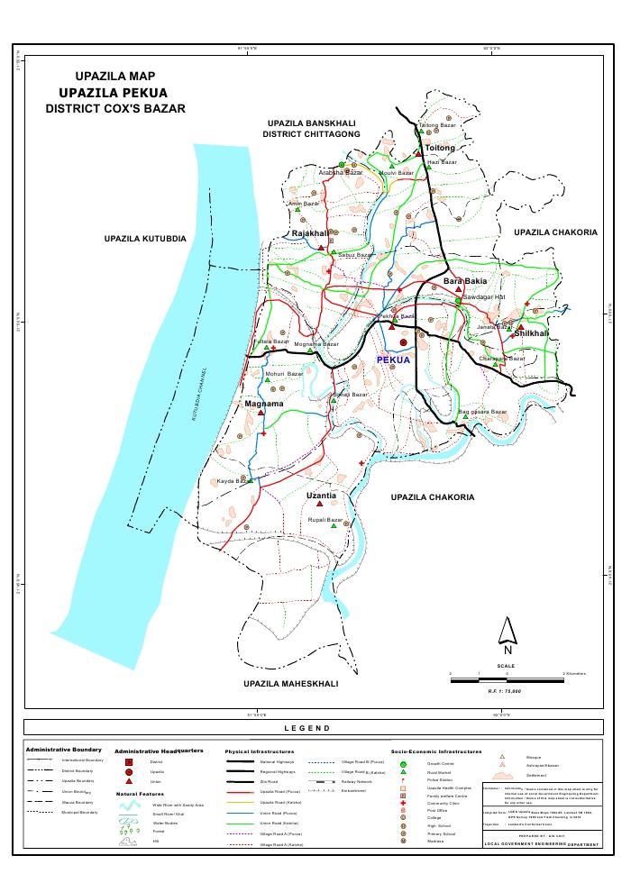 Pekua Upazila Map Cox's Bazar District Bangladesh