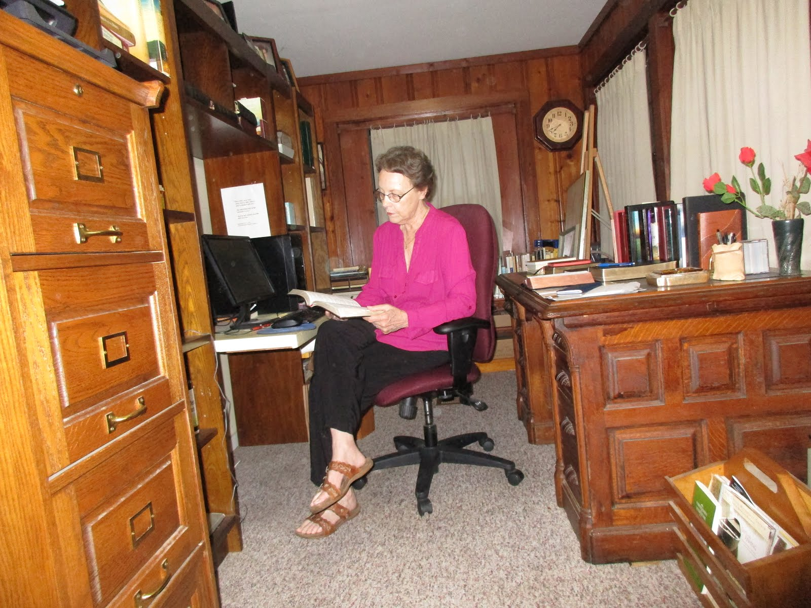 Mary Sayler at her writing desk