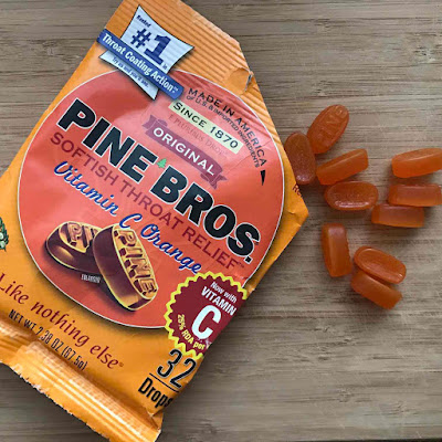 Pine Bros cough drops throat sore dry cold sick product review nutrition