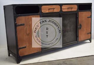 Vintage Industrial Metal Wooden Cabinet