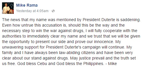 Cebu City Ex-Mayor Michael Rama's statement issued on Facebook regarding allegations of his involvement in illegal drugs